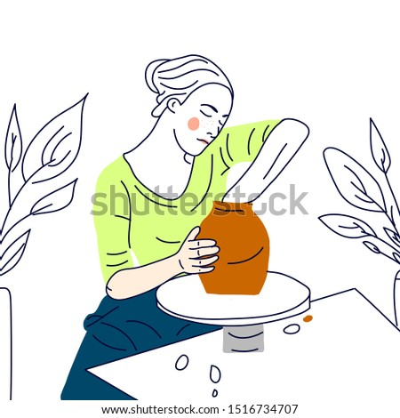 girl with potter wheel, hand crafted master/ vector ilustration