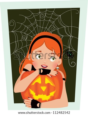 Girl with pumpkin Halloween frightened by a spider/ Girl with pumpkin Halloween
