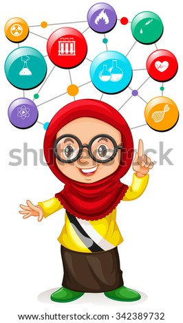 girl with science icons on her