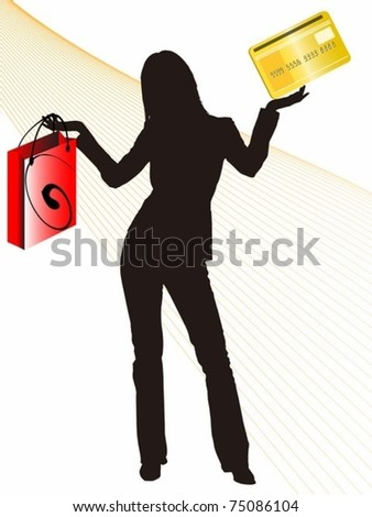 girl with shopping bag and credit card in her hands