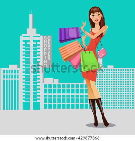 girl with shopping bags woman