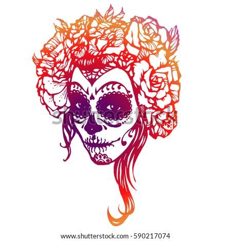 girl with skeleton make up hand