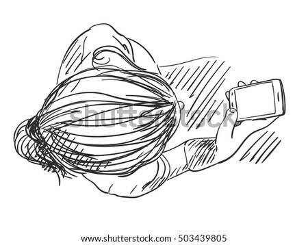 Girl with smart phone view from top, Vector sketch Hand drawn illustration