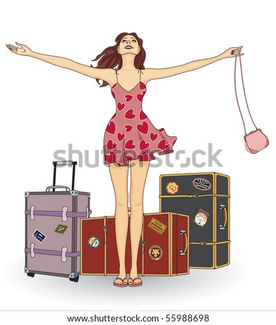 Girl with suitcases - stock vector