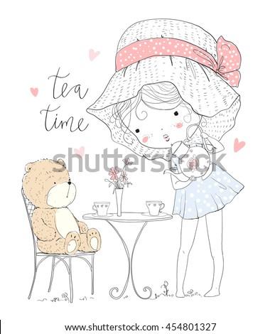girl with tea and bear
