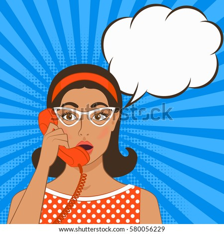 girl with telephone handset on