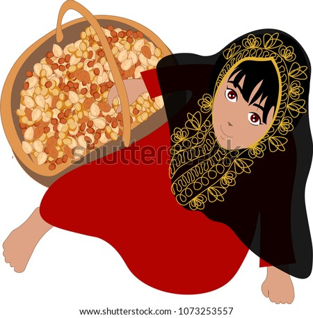 Girl with traditional emirate costume - getting ready for mid sha'ban celebration