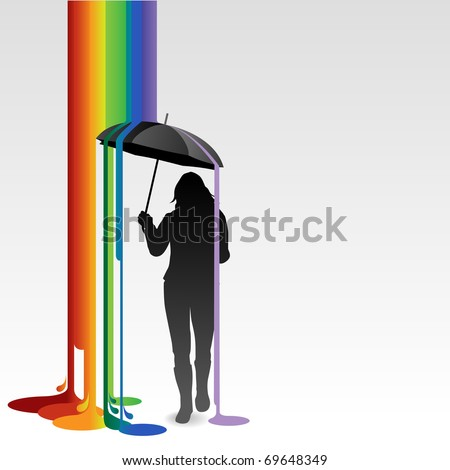 Girl with umbrella and rainbow colored paint dripping down