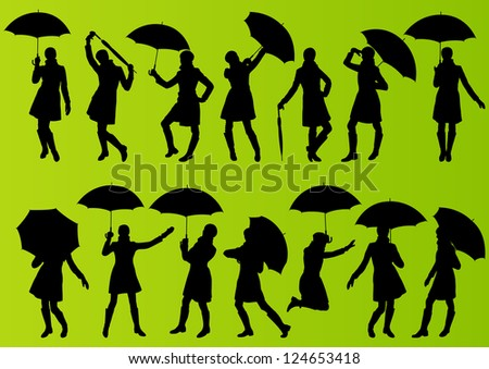 Love silhouettes with umbrella girl with umbrella and