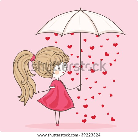girl with umbrella in heart rain