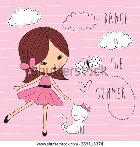 girl with white cat vector