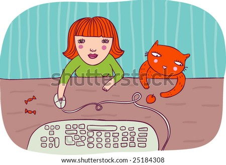 Girl working on computer with her cat