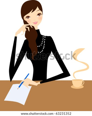 girl writting - stock vector