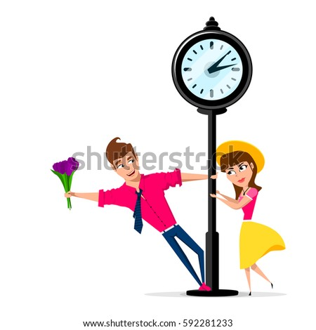 girlfriend and boyfriend in the park. date. meeting at the street clock. vector illustration on a  white background