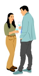 Girlfriend and boyfriend on date vector. Love concept. Boy and girl drink wine. Togetherness, tenderness and closeness. Couple in love on date flirting talking. Teenagers romance, drinking cocktails.