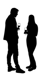 Girlfriend and boyfriend on date vector silhouette. Love concept. Boy and girl drinking wine. Togetherness, tenderness and closeness. Couple in love on date flirting talking. Teenagers romance, drink.
