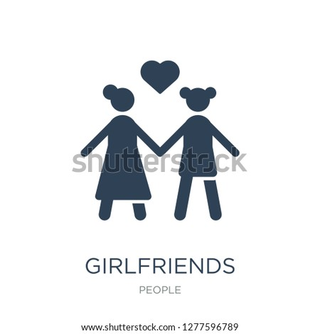 girlfriends icon vector on white background, girlfriends trendy filled icons from People collection, girlfriends vector illustration