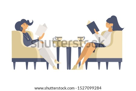 Girlfriends in restaurant flat vector illustrations. Smiling young women sitting in armchairs, reading menu cartoon characters. Beauty salon customers, fashionable visitors waiting for appointment