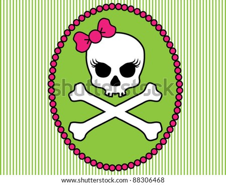 Girlie Skull and Crossbones Cameo