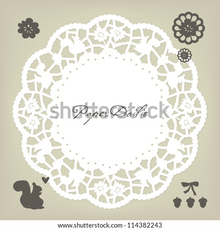 Girlish flower and squirrel paper doily