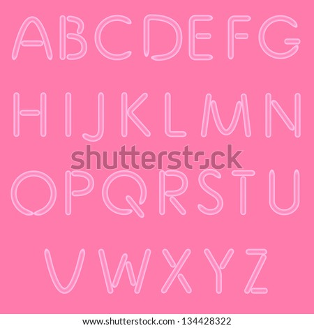 Girlish Letters. ABC, Font. Isolated On Pink Background. Vector. No Mesh Used.
