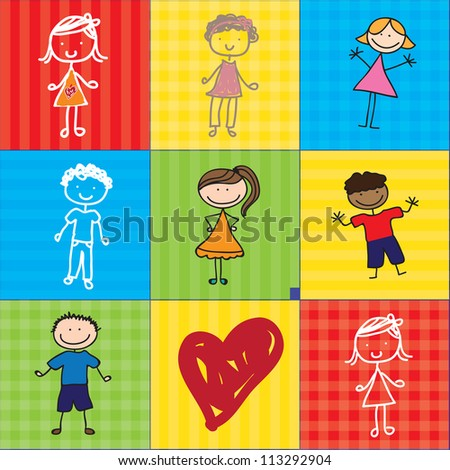 girls and boys over colorful backgrounds with a heart. Vector illustration