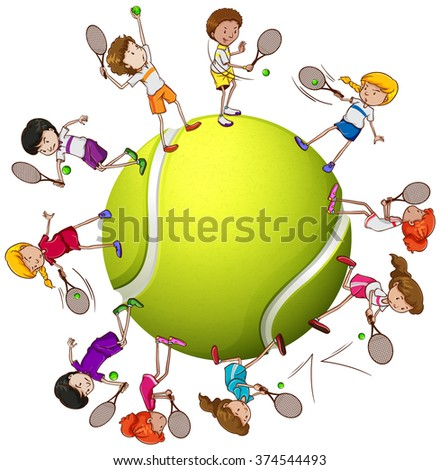 stock-vector-girls-and-boys-playing-tennis-illustration