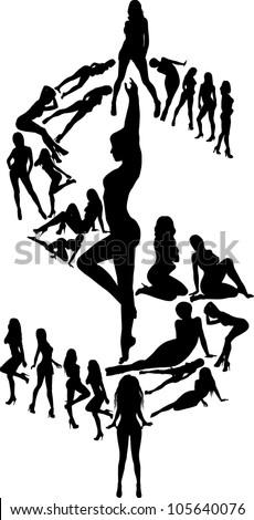 girls and money - stock vector