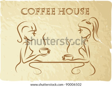 Girls are drinking coffee in a coffee shop, the background, vector