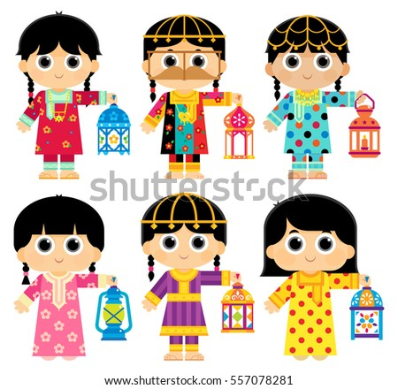 Girls are wearing an Old Traditional Clothes in United Arab Emirates ( UAE ) and carrying Ramadan Lanterns