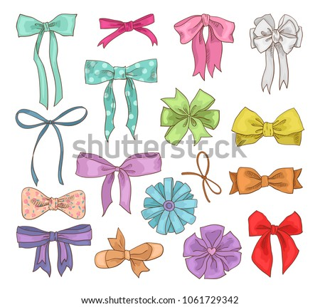 Girls bow vector girlish bowknot or girlie ribbon on hair or for decorating gifts on Birtrhday illustration set of bowed or ribboned presents on holidays celebration isolated on white background