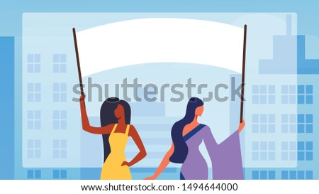 Girls Characters Holding Empty Vote Banners and Signs, Protesting Citizen, African and Indian Women with Placards on Demonstration, Holiday Celebration, Picket, Strike Cartoon Flat Vector Illustration