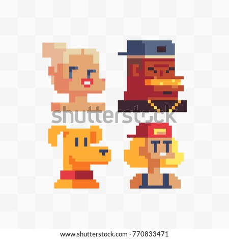 Girls, cool guy and dog. Pixel art style video game characters set. Avatar, profile picture. Game assets. 8-bit. Stickers design. Isolated vector illustration.