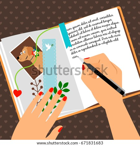 girls diary with writing