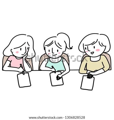 girls doing homework together