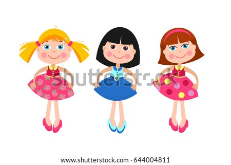 Girls dolls. Set of different vector dolls. Isolated on a white background.