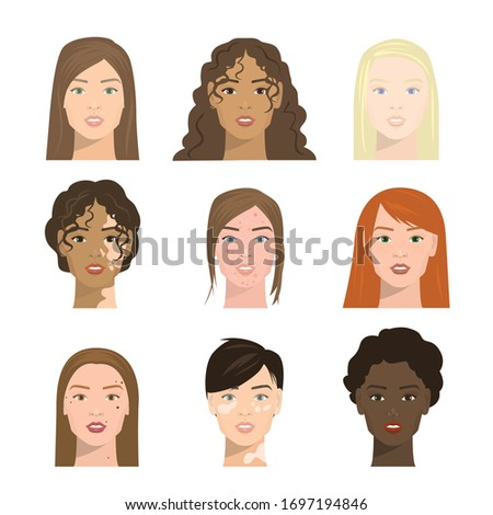 girls faces with different
