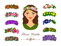 Girls flower wreaths. Vector elegant beautiful young woman portrait with stylish pretty flowers wreath set isolated on white background