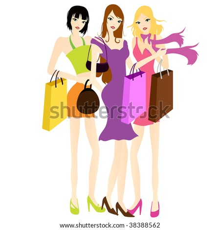 girls' friend with shopping bags