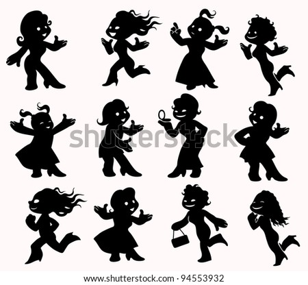 Girls in black silhouettes