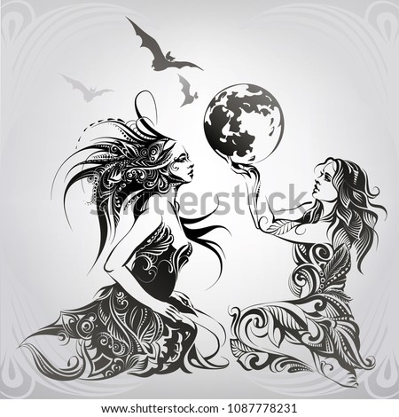 Stock Photo Girls in ornament with the moon