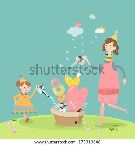 girls in spring   illustration