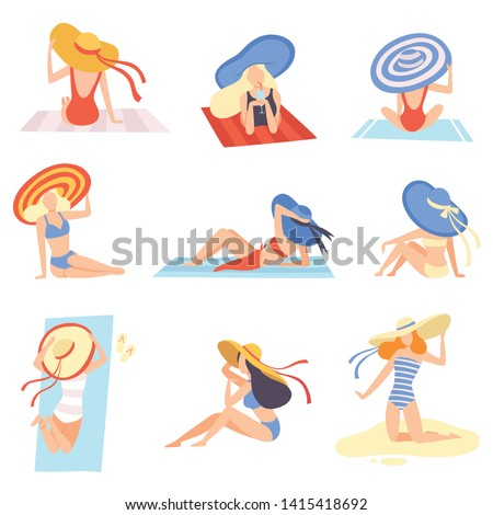 girls in swimsuits and hats