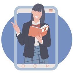 girls in telephones shows the sign of peace, a woman holds a book in her hand, online language courses, learning Japanese online, knowledge through the Internet. concept flat vector illustration