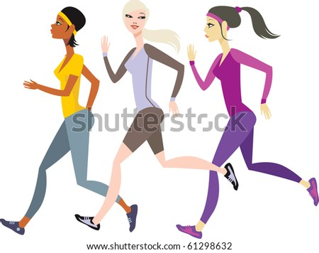 Girls jogging