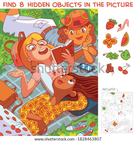 Girls lying on the grass in the park. Find 8 hidden objects in the picture. Puzzle Hidden Items. Funny cartoon character Stockfoto ©