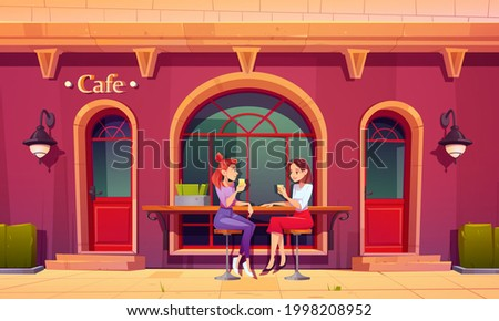 Girls on outdoor cafe terrace. Women drink tea and talking sit on high stools at wooden counter bar. Visitors relax in retro style coffee shop patio with table and chairs. Cartoon vector illustration