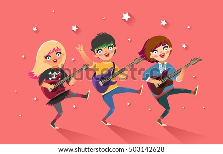 girls rock band happy young