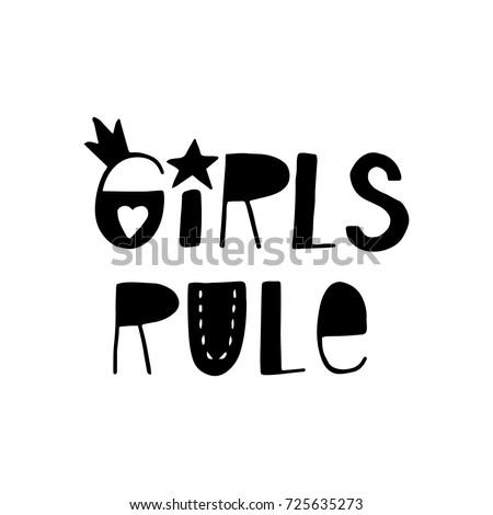 girls rule   fun hand drawn