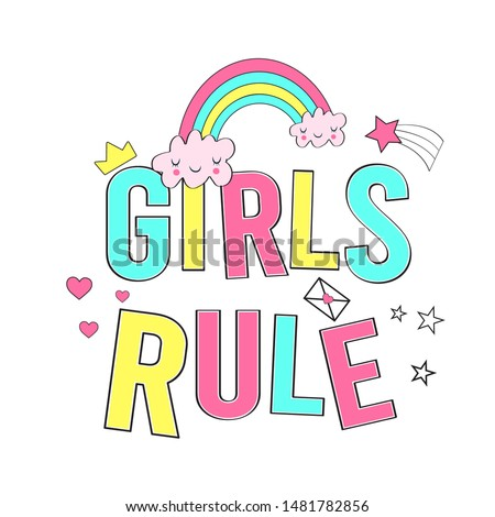 girls rule slogan vector